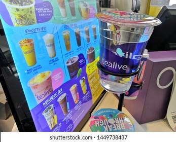 Kuala Lumpur, Malaysia - July 2019 : Tealive is a Taiwanese global franchise teahouse chain based in Taiwan