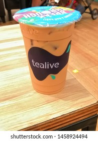 Kuala Lumpur, Malaysia - July 2019 : Tealive ice coffee on the table. Tealive is a Taiwanese global franchise teahouse chain based in Taiwan.