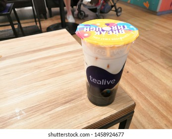 Kuala Lumpur, Malaysia - July 2019 : Tealive pearl milk tea on the table. Tealive is a Taiwanese global franchise teahouse chain based in Taiwan.