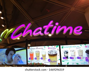 Kuala Lumpur, Malaysia - July 2019 : Chatime logo with menu drinks background. Chatime is a Taiwanese global franchise teahouse chain based in Zhubei.