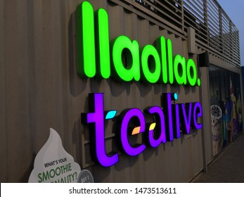 Kuala Lumpur, Malaysia - July 2019 : Tealive llaollao logo at the shop background. Chatime is a Taiwanese global franchise teahouse chain.