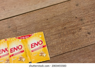 Kuala Lumpur, Malaysia - July 2021. Set of ENO medicine to helps relief wind and indigestion.