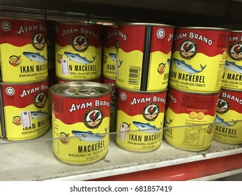 Kuala Lumpur, Malaysia - July 21st, 2017. Ayam Brand of mackerel is the popular brand of canned fish, on shelf in supermarket