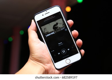 Kuala Lumpur, Malaysia - July 21st, 2017. Spotify user account listening to Meteora's album song by Linkin Park