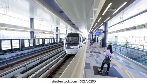 KUALA LUMPUR, MALAYSIA : JULY 22, 2017 : Passenger waiting for Malaysia MRT (Mass Rapid Transit) train at Taman Midah Station. MRT is a transportation for future generation.