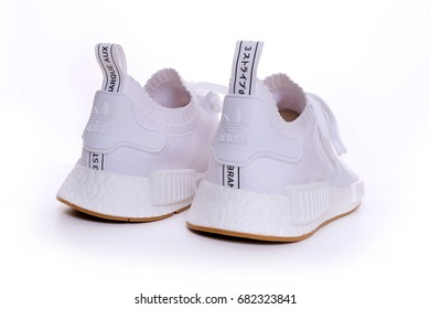 Kuala Lumpur, Malaysia - July 23, 2017: Picture of rear side of Adidas Original NMD R1 Gum Pack All White on white background