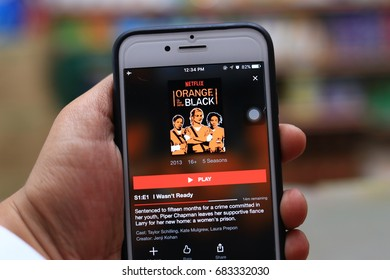 Kuala Lumpur, Malaysia - July 23rd, 2017. Netflix account user watching a new TV shows 'Orange Is The New Black'