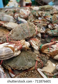 KUALA LUMPUR, MALAYSIA, JULY 23rd, 2017 :Fresh grey swimming crab on sales in supermarket. A selective focus view.