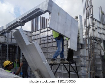 KUALA LUMPUR, MALAYSIA -JULY 25, 2017: Precast system aluminium formwork used at the construction site as the reusable concrete form-work. It is high durability and can be used repeatedly. Saving time