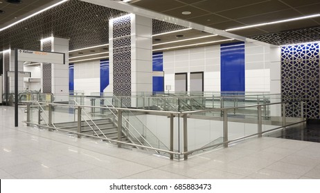 Kuala Lumpur, Malaysia – July 25, 2017 : New MRT Tun Razak Exchange station  interior design.  Malaysia MRT (Mass Rapid Transit) train, the latest public transport in Malaysia.