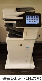 Kuala Lumpur / Malaysia - July 25th 2018: HP Laserjet Enterprise printer