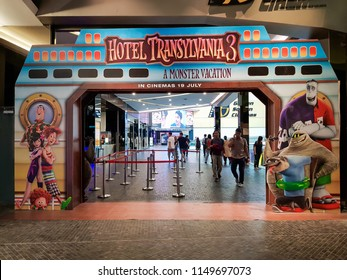 KUALA LUMPUR, MALAYSIA - JULY 26, 2018: Hotel Transylvania 3: Summer Vacation movie poster, is an upcoming 2018 American 3D computer-animated horror comedy film produced by Sony Pictures Animation