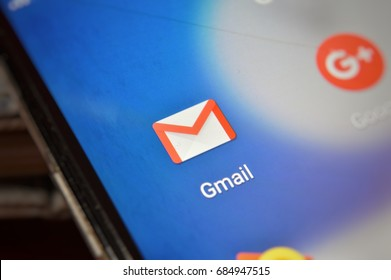 KUALA LUMPUR, MALAYSIA - JULY 26, 2017: Close-up view of Google apps on an Android smartphone, including Gmail application icon.