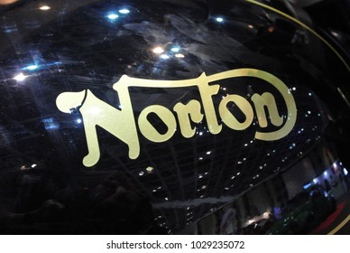 KUALA LUMPUR, MALAYSIA -JULY 29, 2017: Norton motorcycle brand logos at the motorcycle body. Norton is made by famous motorcycle manufacture from United Kingdom.