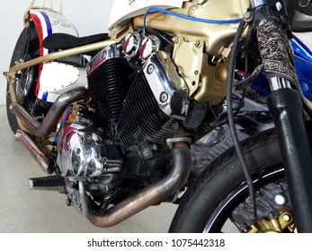 KUALA LUMPUR, MALAYSIA -JULY 29, 2017: Closed up and selected focused on a big motorcycle engine. Huge engine and latest technology produced high capacity horsepower to the motorcycle.