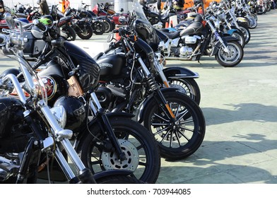 KUALA LUMPUR, MALAYSIA -JULY 29, 2017: Various design of Harley Davidson motorcycle front & handle design. Some of it is custom made by its owner using his own creativity.