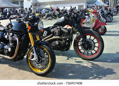 KUALA LUMPUR, MALAYSIA -JULY 29, 2017: Group of big bike and superbike parking at the open area.