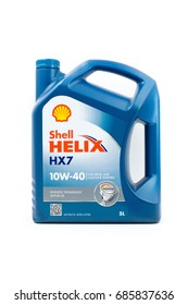 KUALA LUMPUR, MALAYSIA - JULY 29TH, 2017 :  Shell Helix HX7 Motor Engine Oil. Royal Dutch Shell is a multinational oil and gas company.
