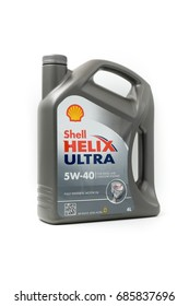 KUALA LUMPUR, MALAYSIA - JULY 29TH, 2017 :  Shell Helix Ultra Motor Engine Oil. Royal Dutch Shell is a multinational oil and gas company.