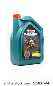 KUALA LUMPUR, MALAYSIA - JULY 29TH, 2017 :  Castrol Magnatec Engine Oil over white background.