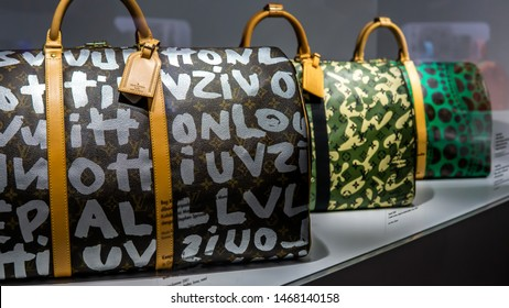 Kuala Lumpur, Malaysia - July 30, 2019: Louis Vuitton Keepall Bag collections showcase at the Time Capsule Exhibition by Louis Vuitton KLCC in Kuala Lumpur.