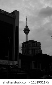 Kuala Lumpur, Malaysia - July 3rd 2018: View of KL Tower from Pudu area in the evening.