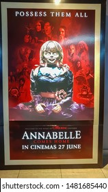 KUALA LUMPUR, MALAYSIA - JULY 4, 2019: Annabelle movie poster, Annabelle is a 2014 American supernatural horror film prequel of The Conjuring