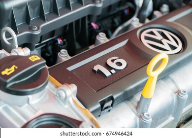 KUALA LUMPUR, MALAYSIA - JULY 5, 2016: Engine Bay for Volkswagen Polo 1.6 at the showroom in Kuala Lumpur Malaysia