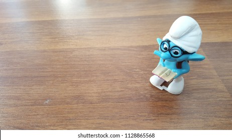 Kuala Lumpur, Malaysia - July 7 2018:  The Smurf Toys