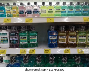 KUALA LUMPUR, MALAYSIA - JULY 7, 2018 :Various of Listerine product displayed at supermarket.Listerine is an American brand of antiseptic mouthwash product, founded in 1879 in St.Louis,Missouri.