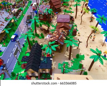 KUALA LUMPUR, MALAYSIA -JUN 20, 2017: Lego toy blocks arranged to form imaginary vacation beach village. Various characters and forms are gathered here.