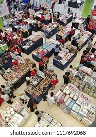 Kuala Lumpur, Malaysia, Jun 21 2018 - view from top of the mall in Sogo mall at Malaysia. Many people shopping during sale day.