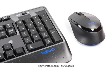 Kuala Lumpur, Malaysia - June 05, 2017: Pair of Logitech wireless mouse and keyboard peripheral input devices. Logitech International is a Swiss global provider of PC and mobile accessories