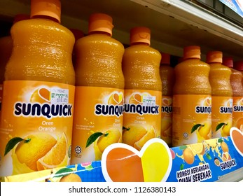 Kuala Lumpur, MALAYSIA - June 10, 2018 : Sunquick syrup on the shelf in supermarket.