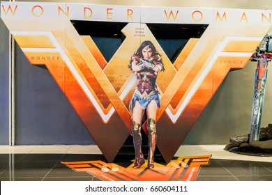KUALA LUMPUR, MALAYSIA - JUNE 11, 2017: Wonder Woman movie poster. It is the fourth installment in the DC Extended Universe featuring Gal Gadot as Heroine character