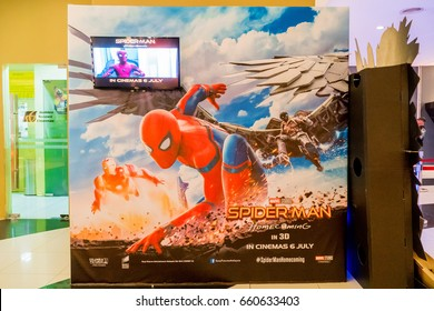 KUALA LUMPUR, MALAYSIA - JUNE 11, 2017:  Spider-Man: Homecoming movie poster; is an upcoming superhero film based on the Marvel Comics character Spider-Man second reboot of the film franchise