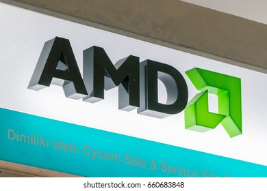 KUALA LUMPUR, MALAYSIA - JUNE 11, 2017:  Advanced Micro Devices (AMD) is an American multinational semiconductor company based in California, US, develops computer processors and related technologies