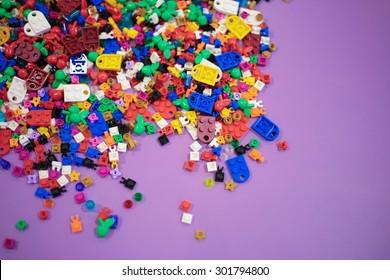 KUALA LUMPUR, MALAYSIA- JUNE 14, 2015 : Pile of LEGO pieces at an indoor LEGO promotional booth at Kuala Lumpur, Malaysia.