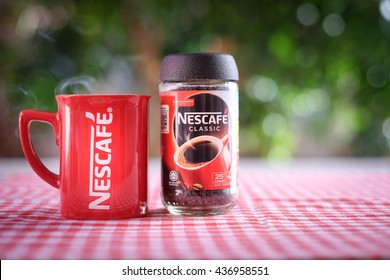 KUALA LUMPUR, MALAYSIA - JUNE 14TH, 2016. Nescafe is a brand of instant powdered coffee made by Nestle S.A, a Swiss multinational food and beverage company, first introduced on April 1, 1938.