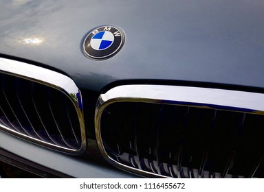 Kuala Lumpur, Malaysia - June 15, 2018 :  BMW motor company logo on the front of a car. BMW is a German automobile, motorcycle and engine manufacturing company founded in 1916.