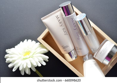KUALA LUMPUR, MALAYSIA- JUNE 15, 2017: A variety of of Mary Kay cleansing product.Mary Kay Inc. is an American privately owned direct sales company that sells cosmetics products.