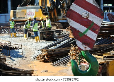 KUALA LUMPUR, MALAYSIA -JUNE 15, 2016: Mobile crane heavy duty boom arm and  hook used to lifting heavy material at construction site.