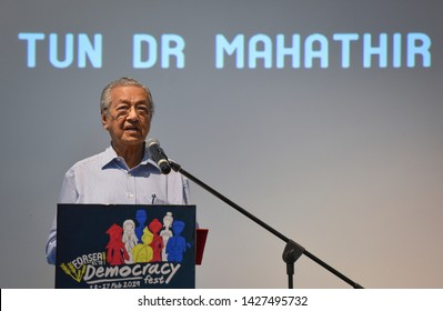 Kuala Lumpur, Malaysia - June 16, 2019 : Prime Minister of Malaysia, Mahathir Mohamad deliver his speech during Forsea Democracy Fest in Mont Kiara.