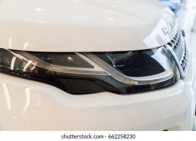 KUALA LUMPUR, MALAYSIA - JUNE 17, 2017: Headlight from Range Rover Evoque Sport at the showroom in Kuala Lumpur Malaysia