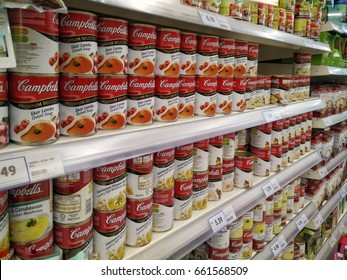 KUALA LUMPUR, MALAYSIA - JUNE 18, 2017 :Close up image of Campbell's Mushroom Soup cans and oxtail soup on the supermarket shelf. Campbell's, is an American producer of canned soups and related produ