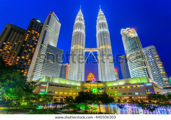 KUALA LUMPUR, MALAYSIA - JUNE 18: Petronas Towers on April 08, 2014 in Kuala Lumpur, Malaysia.Petronas Towers,also known as Menara Petronas is the tallest buildings in the world from 1998 to 2004