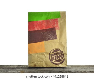 KUALA LUMPUR, MALAYSIA - JUNE 19 , 2016 : Burger King paper bag.  Burger King is a global chain of hamburger fast food restaurants headquartered in United States.