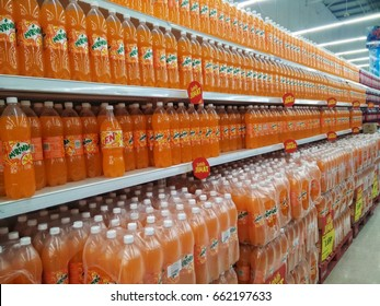 KUALA LUMPUR, MALAYSIA- JUNE 19, 2017,. Mirinda plastic bottle on the supermarket shelf . Mirinda is a carbonated soft drink that is produced and manufactured by PepsiCo.