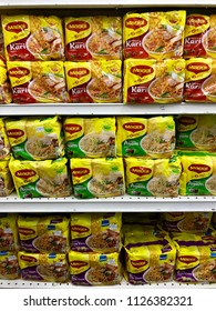 Kuala Lumpur, Malaysia - June 20, 2018 : Various of Maggi products (noodles) on the shelf ready for sale in hypermarket. Maggi is one of the brand product produced by Nestle Malaysia