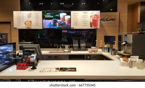 Kuala Lumpur, Malaysia - June 2017: McCafe is a coffee-house-style food and beverage chain by McDonald's. It is one of the favorable hangout places for tourist and families.